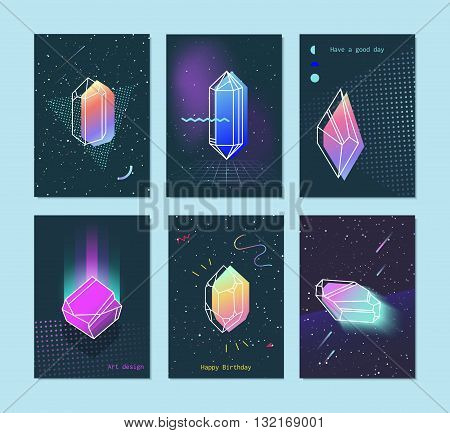 Bright backgrounds set of neon space 80s style crystals with a triangle. Trendy hipster retro background with elements. Hipster gift cards.