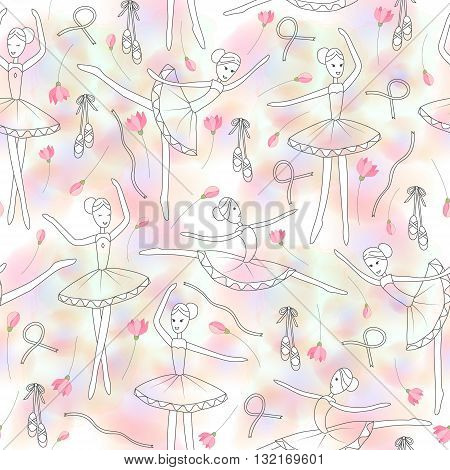 Seamless pattern with dancing ballerinas and delicate rose flowers on a pink watercolor blure background. Vector Vector child's drawing ballerinas