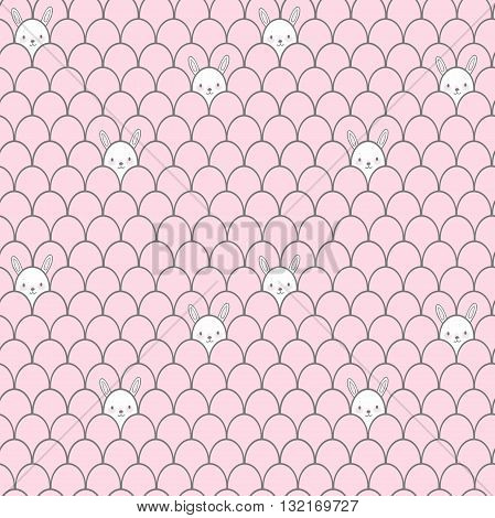 Cute white rabbit seamless pattern. Background for kids.