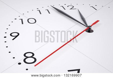 Clock face isolated on white background, closeup. 3D illustration