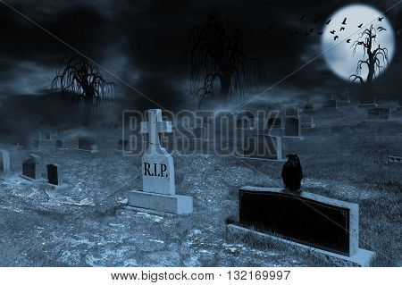 Graveyard on a supermoon-lit night with tombstones dark clouds fog and spooky trees. Crow sitting on a foreground tombstone with silhouette of ravens flying in the backlit moon in background.