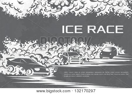 Winter car races on an ice track. Template for a poster, tickets, cards.