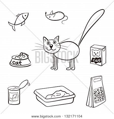 Cat and accessories for care. Black and white vector illustration food litter toy for cat. Shopping products cats .