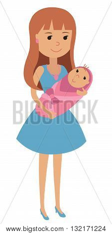 Young mother with a newborn baby in her arms wrapped in a blanket.