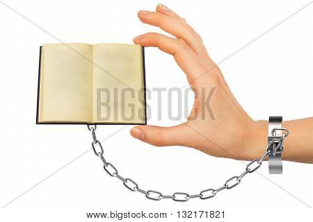 Chained hand holding open book isolated on white background
