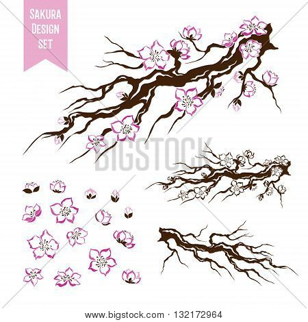 Sakura. Blossoming cherry tree branch. Stencil style. Graphic vector decorative elements.