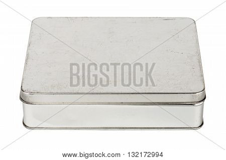 Old grungy metallic tin box isolated on white background