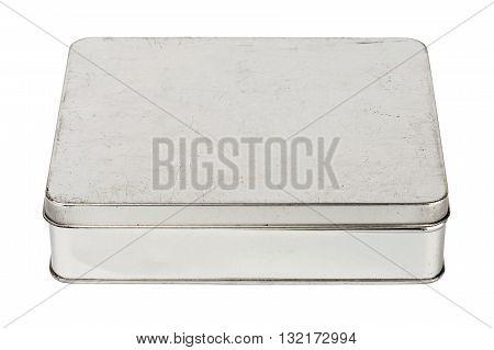 Old grungy metallic tin box isolated on white background