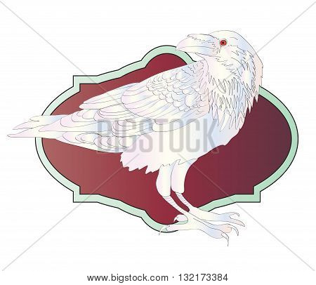 White raven with red eye - vector illustration
