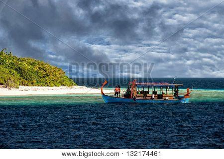 Maldives White Sand Paradise Beach Landscape View