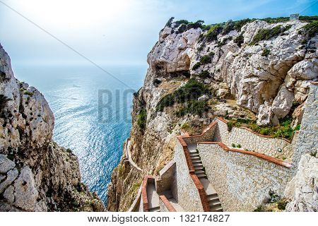 The stairway leading to the Neptune's Grotto in Capo Caccia cliffs near Alghero in Sardinia Italy