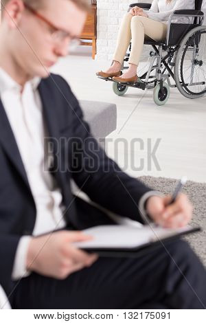 Patient On Wheelchair At Psychotherapist