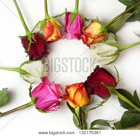 A bouquet of red pink white and yellow roses forming a circle for copyspace on white background; an invitation design template