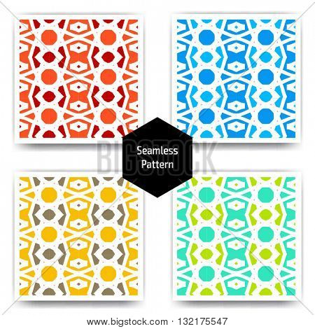 Ethnic islamic arabic pattern set. Islamic arabic background. Islamic geometry. Seamless vector in arabic style