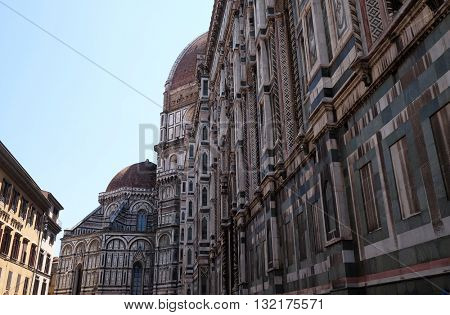 FLORENCE, ITALY - JUNE 05:  Detail of Cattedrale di Santa Maria del Fiore (Cathedral of Saint Mary of the Flower), Florence, Italy on June 05, 2015