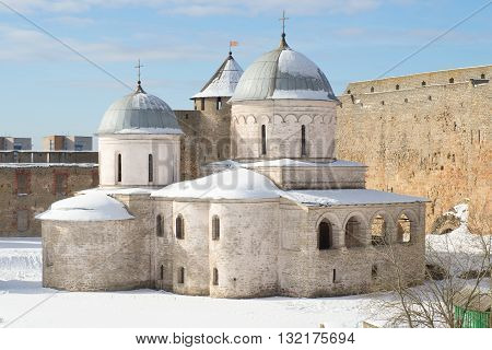IVANGOROD, RUSSIA - MARCH 02, 2016: Assumption Church in Ivangorod fortress in early march. Religious landmark of the city Ivangorod, Leningrad region, Russia