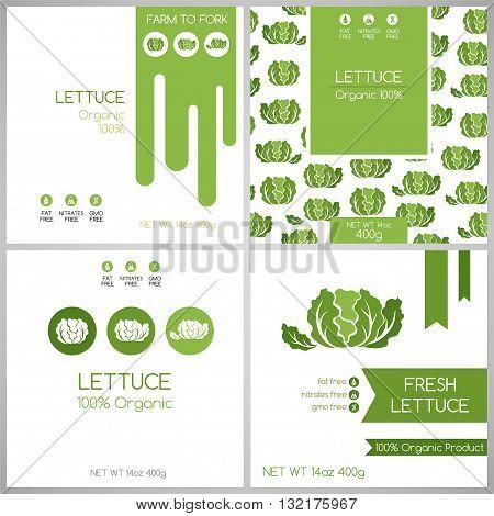 Lettuce pack set. Vegetables label for packaging design
