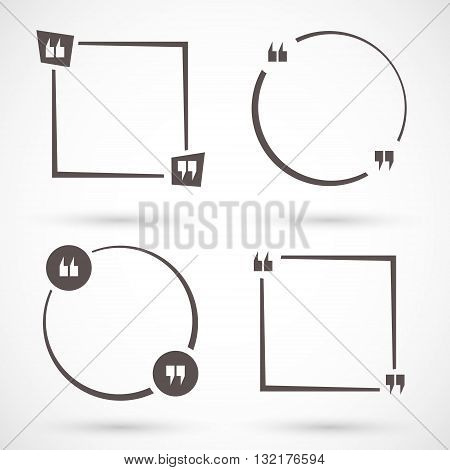 Empty quote square set. Quotation mark speech bubble. Quote box, form, information, text. Vector illustration