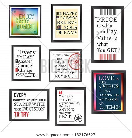 Quotes motivation frame designed. Quote motivational square template. Inspirational quotes. Text box layout. Vector illustration.