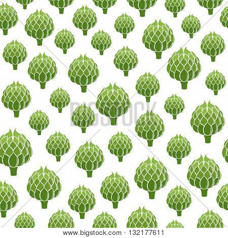 Seamless pattern with Artichokes. Vegetables vector background