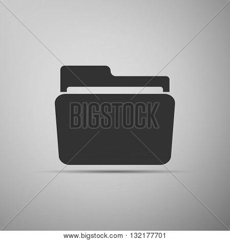 Folder icon on gray background. Vector Illustration.