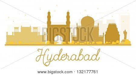 Hyderabad City skyline golden silhouette. Business travel concept. Cityscape with landmarks