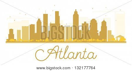 Atlanta City skyline golden silhouette. Business travel concept. Cityscape with landmarks