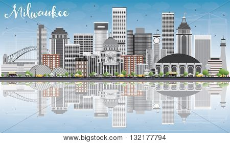 Milwaukee Skyline with Gray Buildings, Blue Sky and Reflections. Business Travel and Tourism Concept with Modern Buildings. Image for Presentation Banner Placard and Web Site.