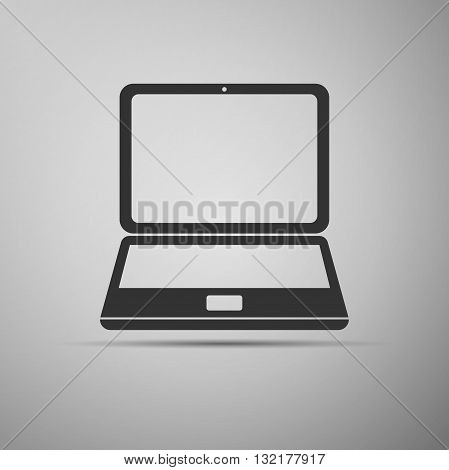 Laptop icon on gray background. Vector Illustration.