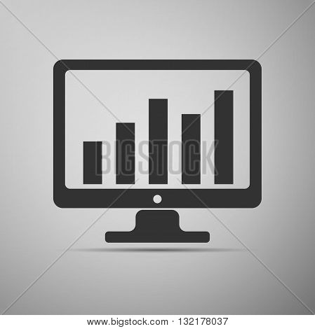 Display with business graph icon. Vector Illustration.