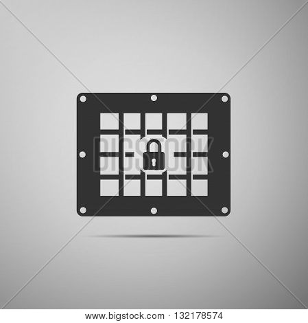 Prison window icon on gray background. Vector illustration