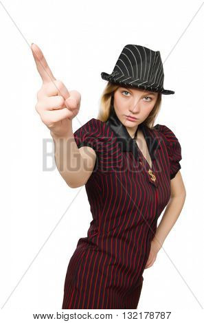 Woman in striped costume on white