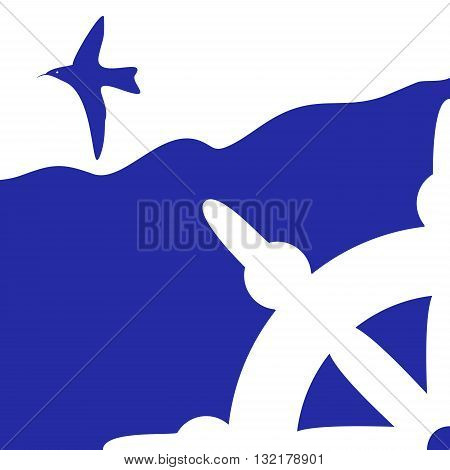 blue marine background with seagulls and wheel