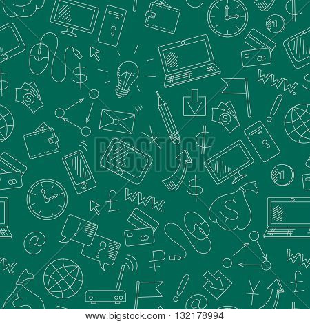 Seamless background on the topic of information technology and earn money online simple hand-drawn contour icons light outline on a green background