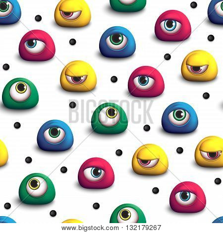 3d seamless pattern with colored eyes. Monsters, strange creatures, animate objects, aliens. Bright creative seamless pattern.