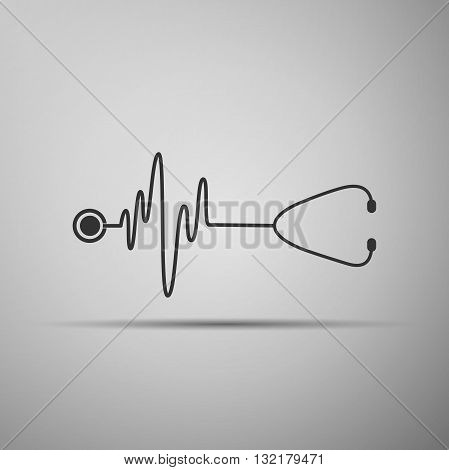 A stethoscope with a heart beat icon. Vector illustration.