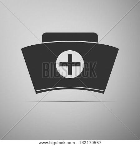 Nurse hat icon on gray background. Vector illustration.