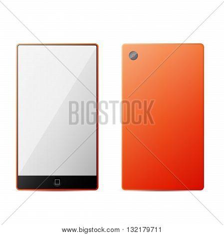 Orange perfectly detailed modern smart phone isolation. Vector Illustration.
