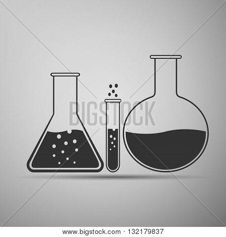 Laboratory glassware icon on gray background. Vector Illustration.