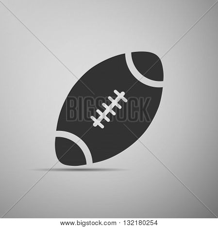 American Football ball icon on gray background. Vector Illustration.