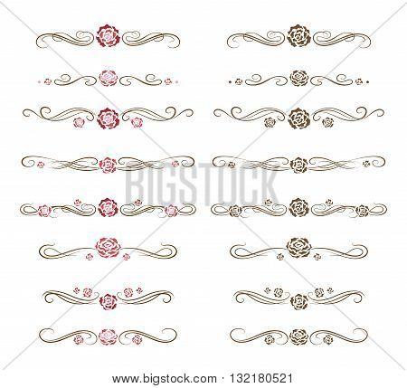 Roses horizontal deviders set. Set of ornamental floral dividers