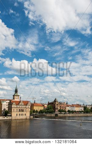 View of Prague on bright day