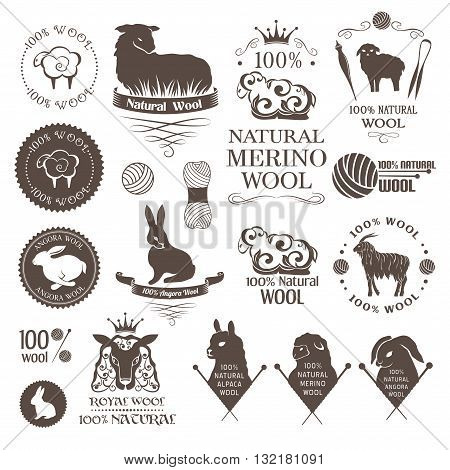 Wool design elements. Labels set of sheep alpaca rabbit and goat wool. Emblems for natural wool products.