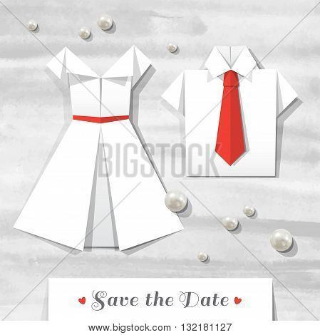 origami wedding invitation, vector card with pearls, paper dress and shirt on watercolor background