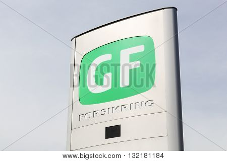 Horsens, Denmark - May 22, 2016: GF insurance sign on a panel. GF Insurance is among the 10 largest insurance companies in Denmark