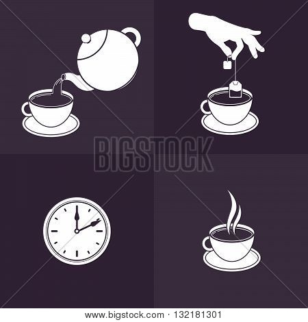 Vector Illustration of Brewing Tea. Isolated Icons for Infographics and Tea Packaging Instructions.