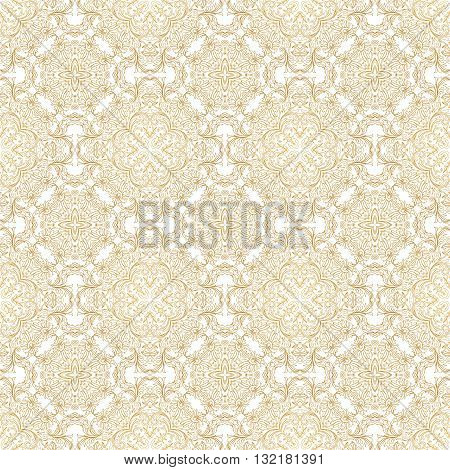 Vector seamless pattern with floral ornament. Vintage element for design in Eastern style. Lace golden tracery. Ornate floral decor for wallpaper. Traditional arabic decor on scroll work background.