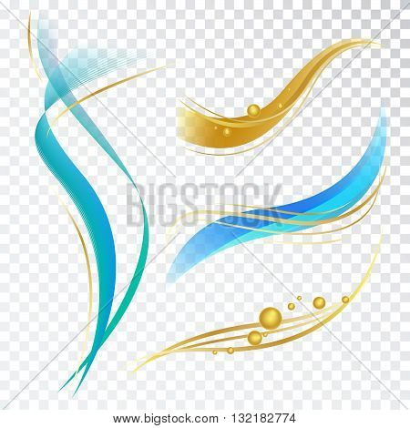 Abstract Design Elements with Waves and Bubbles. Vector Decorations for Toothpaste Cosmetics and Shampoo Package.