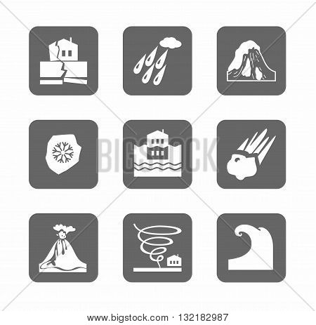 Vector, monochrome icons of natural disasters and cataclysms. White image on a gray background.