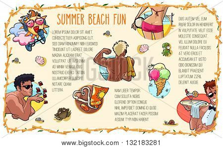 Hand drawn summer beach fun illustration. Vector template with sun volleyball girl sunbathing men sunscreen ice cream and beach cocktail waiter.